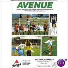 Bradford Park Ave v Eastwood Hanley 11/3/1992 Non League Football Programme Sale