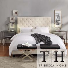 TRIBECCA HOME Sophie Beige FabricTufted King-size Bed   Overstock.com