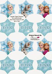 Frozen: Wrappers y Toppers para Cupcakes para Imprimir Gratis.