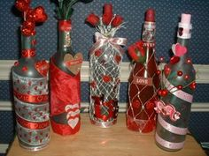 Valentine lighted wine bottles