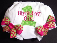 First Birthday Bloomers Pink and Green Birthday by Whimsy Tots Boutique, $22.50