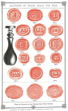 Baddeley Brothers Engravers, London Sealing Wax designs From Spitalfields Blog