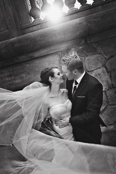 Love her flowing veil in this shot! Great in black and white!