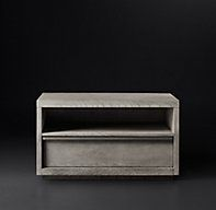 """RH Modern's Bezier 36"""" Open Nightstand:Designed by the Van Thiels, our nightstand's slender metal accents are a counterpoint to the naturally rich grain of American white oak. Inspired by 1970s postmodern design, its bold proportions and clean lines offer a style both rustic and refined."""