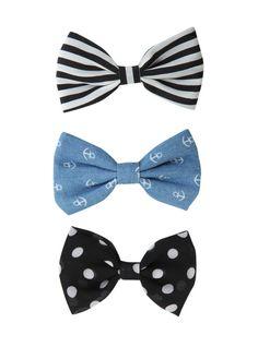 LOVEsick Polka Dot Stripe Anchor Hair Bow 3 Pack