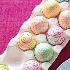 Marker Easter Eggs - Pretty patterns are modern, chic, and simple to draw. Simply use colored permanent markers to make fun designs. Don't worry if your work isn't perfect -- wobbly lines and mistakes just add character.
