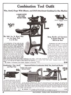 Louis Reijners, Amsterdam 1912 Catalog : anvilfire Vise Gallery Blacksmith Supplies, Blacksmith Tools, Metal Working Tools, Metal Tools, Hobby Lathe, Small Lathe, Power Hammer, Wood Shed Plans, Bench Vise