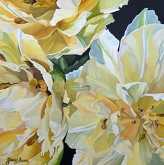 $1,950. 76 x 76 cm. Deep Edge Canvas (3.5cm) Acrylics on canvas with oil glaze.A delicate trio of pale yellow double tulips.