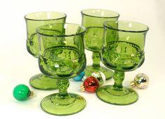 Vintage Green Glassware Wine Goblets Set of 4 by RinnovatoVintage