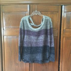 Cross back sweater Wool long sleeve sweater with criss-cross straps on the back. Size M but runs big. LA Hearts Sweaters Crew & Scoop Necks