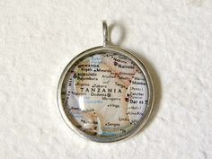 World Traveler Map Necklace  Tanzania Africa by TheGreenDaisyShop, $20.00
