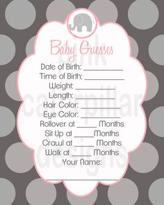 Hey, I found this really awesome Etsy listing at http://www.etsy.com/listing/103158047/pink-and-grey-elephant-baby-shower-baby
