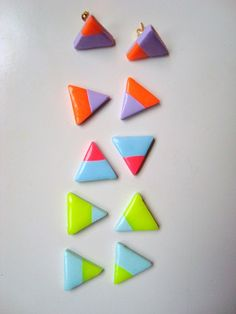 SMALL polymer clay triangle stud earrings in neon/pastel combinations- Yellow, pink and orange - geometric - by Margalló. €5.00, via Etsy.