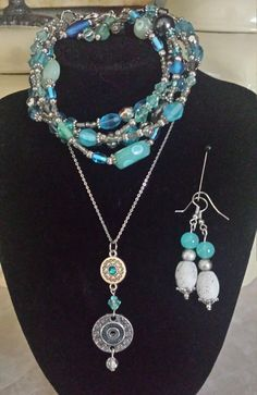 ~CUSTOM MADE TO ORDER~ Handmade #coordinating, pendant, bracelet and earrings. Beautiful assorted #aqua beads and silver tone charms and spacers. Exact beads vary from #set to... #trending #jewelry #vintage #coordinate #blue #statement #dangle #birthday #anniversary #summer #beach