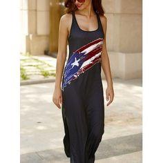 U Neck Criss Cross Maxi Backless Casual Dress - BLACK L