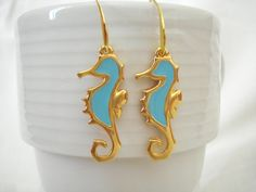 Seahorse blue earrings sea animal dangles nautical drops marine life gift for her fish jewelry summer Greek vacation memories ocean inspired Nautical Jewelry, Unique Jewelry, Goddaughter Gifts, Greek Gifts, Best Dad Gifts, Vacation Memories, Greek Jewelry, Evil Eye Bracelet, Turquoise Color