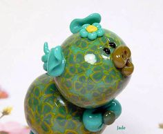 Jade Polymer clay Piglet Figurine by TheWorldOfMerryBerry on Etsy, $14.00