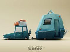 Car And Caravan Side by Paul McMahon