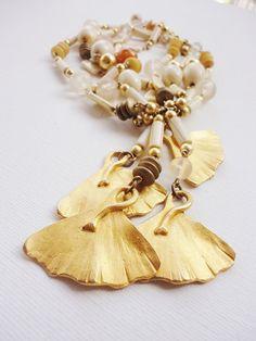 Vintage LES BERNARD necklace earrings Ginko Ginkgo by LorenzoMele