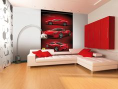 Ferrari Wallpaper Mural.  Comes in 2 easy to hang pieces.  Height 2.32m x  Width 1.58m.  Can be cut to fit smaller size.  Quick and Easy to hang.  £24.99 plus delivery.  Please shop at the link below. http://stores.ebay.co.uk/Littlebrook-Home?_rdc=1
