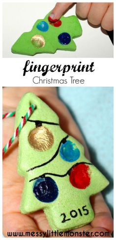 Fingerprint christmas tree ornament, gift tag or keepsake made from salt dough. A great Christmas craft for toddlers, preschoolers or older kids.                                                                                                                                                                                 More