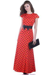 Длинное платье в стиле пинап