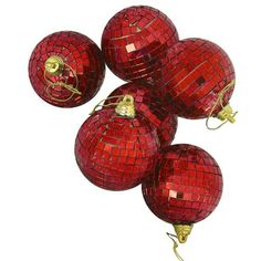 Pack of 6 Lust Red Mirrored Glass Disco Ball Christmas Ornaments 2.75 inch (70mm)