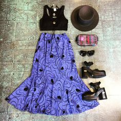 Get the look! This entire #outfit is now available in store / skirt and shoes also available online. Link in bio to shop. 🍭 . . . #heytiger #shopheytiger #etsy #etsyshop #etsyseller #vintage #vintageshop #vintagestyle #vintagefashion #vintageclothing #style #fashion #bohostyle #festivalvibes #festivalfashion #oneofakind #onlineshop #outfitgrid #outfitpost #outfitoftheday #ootd #flatlay #gypsystyle #midiskirt #bralette #platforms
