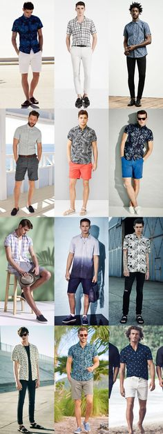 Men's Printed Short Sleeved Shirts Outfit Inspiration Lookbook