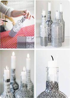 Nach Weihnachten alle leeren Flaschen wegwerfen? Nein, zu schade …, aufbewahren! 12 tolle Bastelideen aus Glasflaschen!