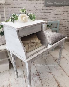Telephone table updated with some chalk paint & crushed velvet.another new addition for the Lash & Brow Bar 💙 Refurbished Phones, Refurbished Furniture, Upcycled Furniture, Vintage Furniture, Painted Furniture, Table Furniture, Kitchen Table Redo, Kitchen Sink Design, Vintage Telephone Table