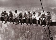 """TIL this famous photo called """"Lunch atop a Skyscraper"""" wasn't the unfinished Empire State Building, it was 30 Rockefeller Center. Lunch On A Skyscraper, Skyscraper New York, Famous Photos, Iconic Photos, Lewis Hine, Poster Online, Rockefeller Center, Poster Prints, Poster"""