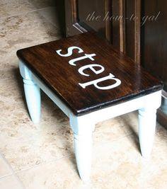 Brilliant remake of a garage-sale find wooden stool.