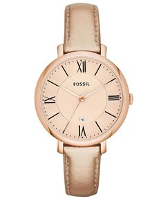 Fossil Watch, Women's Jacqueline Rose Gold Metallic Leather Strap 36mm ES3438 - Women's Watches - Jewelry & Watches - Macy's