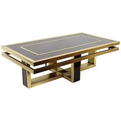 Italian 1960s Brown Glass and Brass Coffee Table in the Style of Romeo Rega | https://www.1stdibs.com