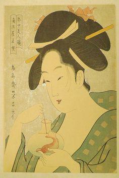 Japanese Ukiyoe Woodblock print antique Chokosai by UkiyoeSalon