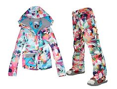 72ef6d5c8d APTRO Women s High Windproof Technology Colorfull Printed Ski Jacket and  Pants Suit Style  13 Size