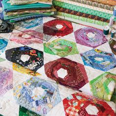 Use hexies? Scrappy Hexies: Improv piecing combined with accuquilt / sizzix