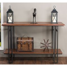 Newcastle Wood and Metal Console Table - Overstock™ Shopping - Great Deals on Baxton Studio Coffee, Sofa & End Tables Wood Sofa Table, Rustic Console Tables, Sofa End Tables, Dining Tables, Vintage Industrial Furniture, Rustic Furniture, Table Furniture, Industrial Living, Industrial Farmhouse
