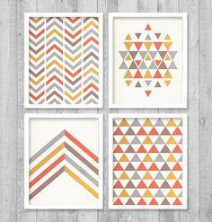"Printable Wall Art, Geometric Digital Printable Wall Art Print 8""x10"" Set (Jpeg Files) - INSTANT DOWNLOAD - V245"