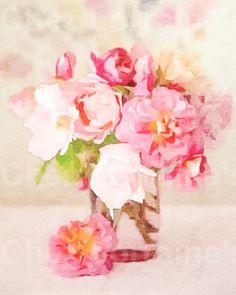 Pink Spring Bouquet:  A Fine Art Watercolor Print, Floral Still Life, Cottage Chic Feminine Home Decor, Living Room Bedroom Art