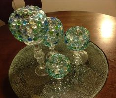 D.I.Y Glass Beads Candle Vase | Goodwill & Dollar Tree