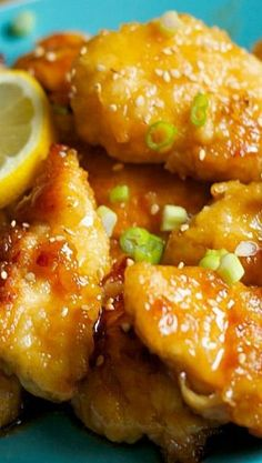 "This Asian Lemon Chicken is a quick weeknight MEAL SOLUTION… Finger Licking good! This Asian Lemon Chicken is a quick weeknight MEAL SOLUTION that will have you saying ""Who needs take out? Turkey Recipes, Chicken Recipes, Dinner Recipes, Keto Chicken, Beef Recipes, Asian Recipes, Healthy Recipes, Asian Foods, Lemon Recipes"