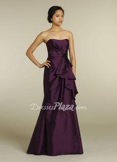 eggplant taffeta strapless a line floor length draped cascade bridesmaid dress