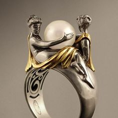 TWO BEAUTIES silver & 14k gold Pearl ring. $795.00, via Etsy.