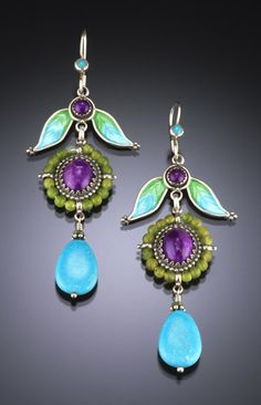 Vanessa Mellet Earrings - Turquoise, amethyst, jade and enamel… Jewelry Art, Antique Jewelry, Vintage Jewelry, Jewelry Accessories, Jewelry Design, Vintage Earrings, Bijou Box, Artisan Jewelry, Making Ideas