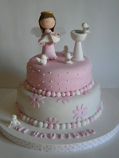 Bautismo - cake love this cake have to do for Aprils baptism Baby Shower Cakes, Fondant Cakes, Cupcake Cakes, Confirmation Cakes, Christening Cakes, Religious Cakes, First Communion Cakes, Baby Girl Cakes, Fancy Cakes