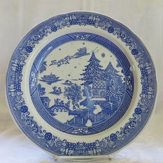 Spode Willow Santa Plate. This is one of a series of Christmas and Winter themed plates created by Spode, all of which are inspired by the popular