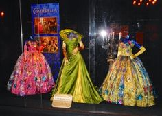 Hollywood Movie Costumes and Props: Cate Blanchett's Lady Tremaine Stepmother and Stepsister costumes from Cinderella... Original film costumes and props on display