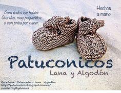 Patuconicos baby booties  https://www.facebook.com/pages/Patuconicos-lana-y-algodón/133197553517428?ref=hl http://patuconicos.blogspot.com.es